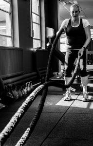 Older women doing Battle ropes, Scotland All-Strong, Perth Scotland